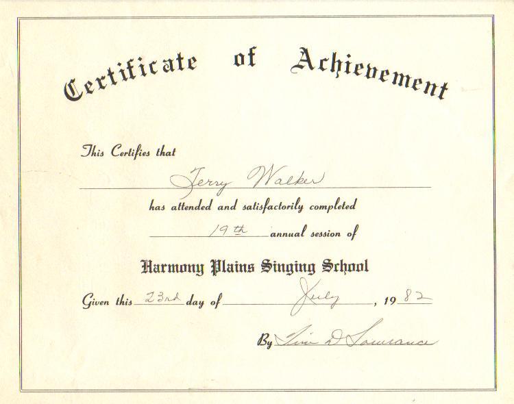 singing school certificate 1982
