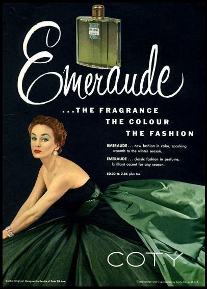 vintage coty emeraude perfume ad 1952