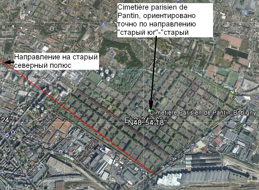 Cimetière parisien de Pantin, ориентировано точно по направлению