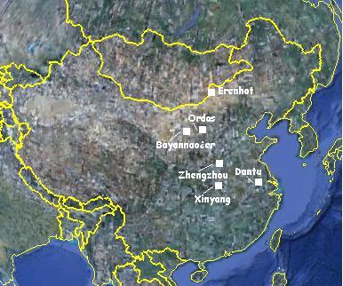 города-призраки на территории Внутренней Монголии карта