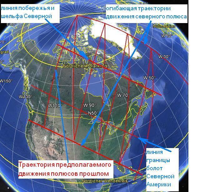 побережье Северной Америки повторяет огибающую траекторию движения северного полюса