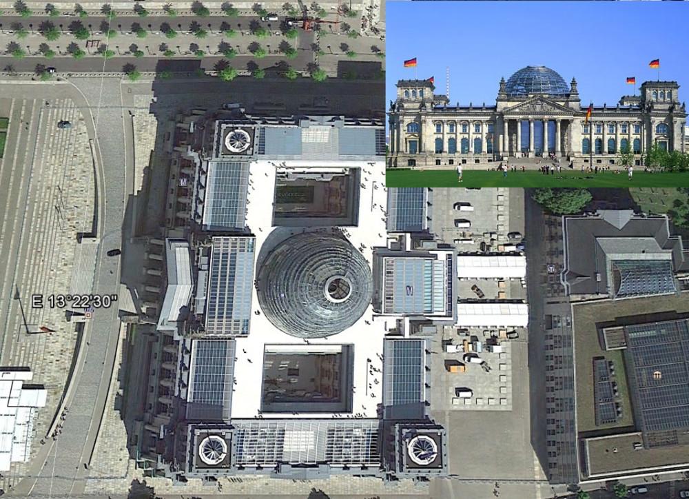 """Германской парламент, координаты  52°31'6.82quot; N  13°22'34.81"""" E, тоже ориентирован по нынешним сторонам света и тоже построен в античном стиле."""