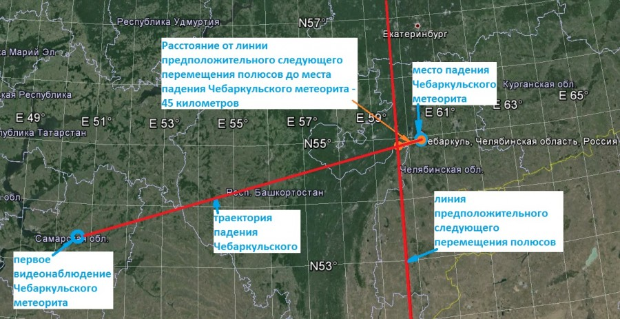траектория падения Чебаркульского метеорита