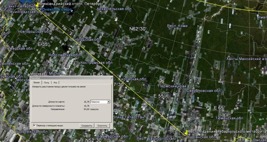 Угловое расстояние между местом падения Чебаркульского метеорита и Александрийским столпом в Петербурге