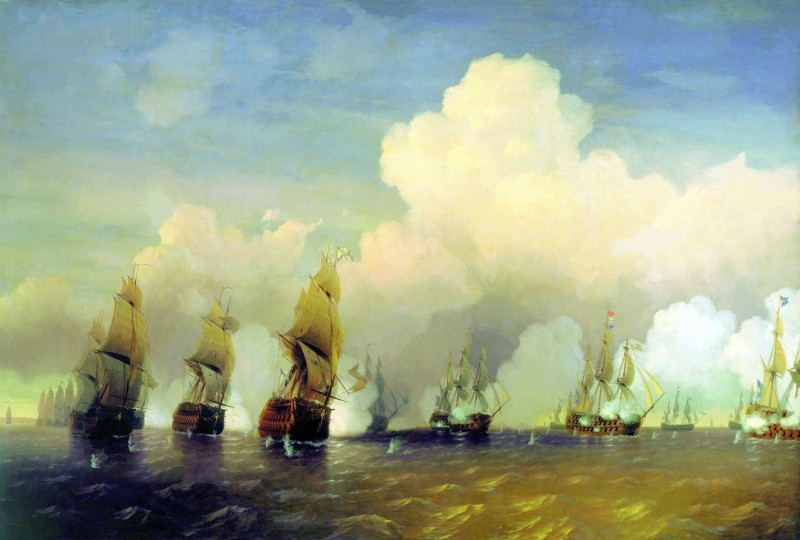 А.П. Боголюбов. Сражение русского флота со шведским флотом в 1790 году вблизи Кронштадта при Красной Горке (1860е – время написания).