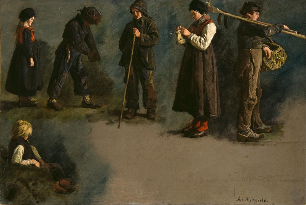Андерс Аскеволд (1834-1900). Студийные наброски фигур людей