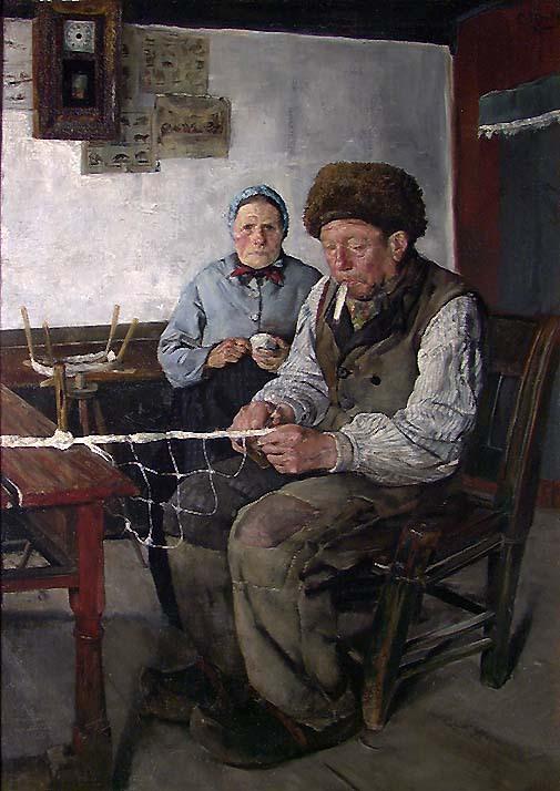 Кристиан Крог (1852-1925) – Нильс Гайхеде плетущий сети