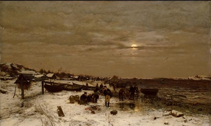 Людвиг Мунте (1841-1896) – Рыбацкая деревня на норвежском побережье.