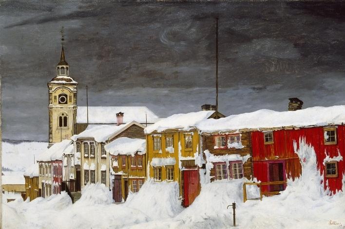 Харальд Сольберг (1869-1935) – Улица в Røros зимой