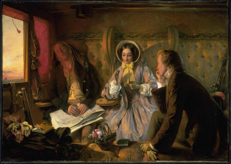 Абрахам Соломон. В вагоне первого класса. (Подзаголовок: встреча и первое свидание, зарождение чувства). 1854.