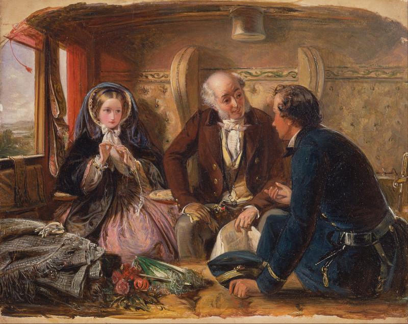 Абрахам Соломон. В вагоне первого класса. (первое свидание). 1855.