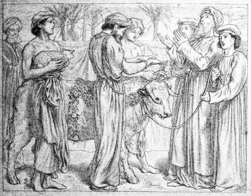 Симеон Соломон. Аарон, приносящий в жертву первенцев.