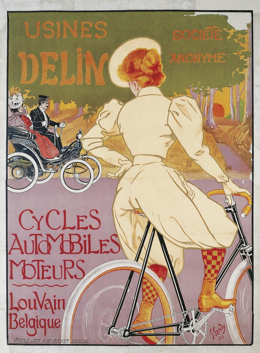 Жорж Гауди (1872-1940, Бельгия) – Usines Delin (видимо реклама какого-то автомобильно-велосипедного общества), 1898