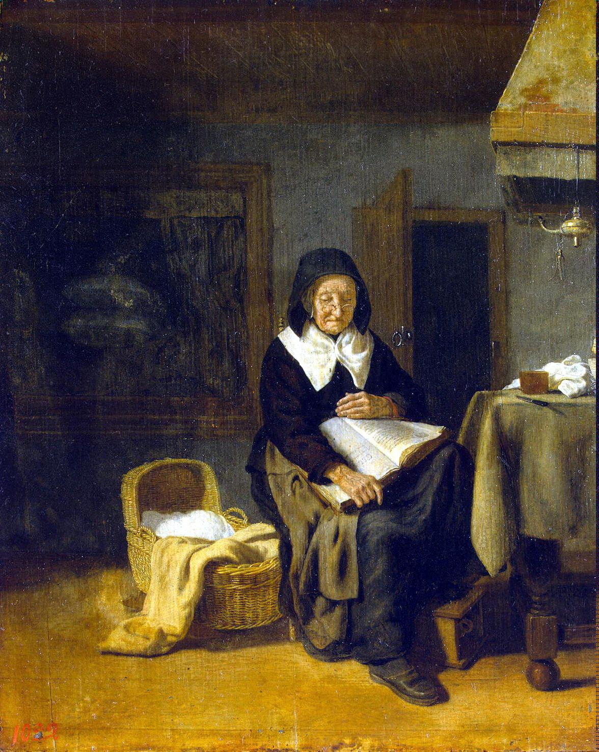 Питер ван ден Бос. Старуха за чтением. XVII век