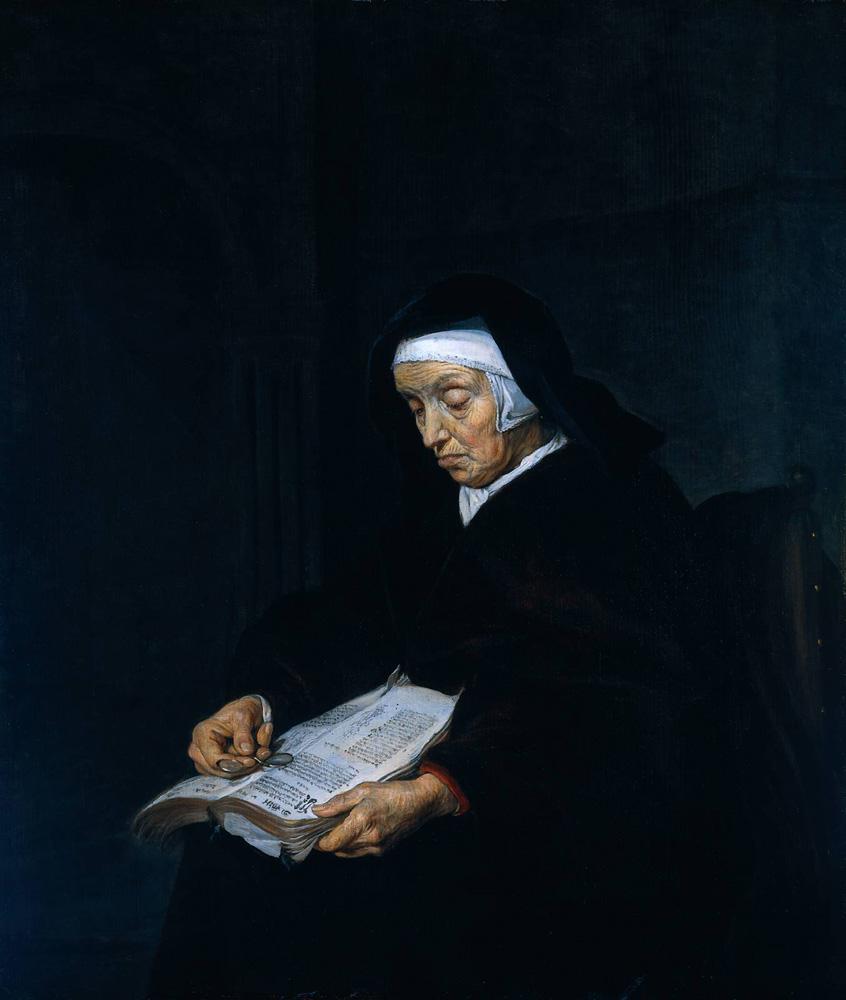 Габриэль Метсю. Старая женщина, размышляющая над книгой. XVII век