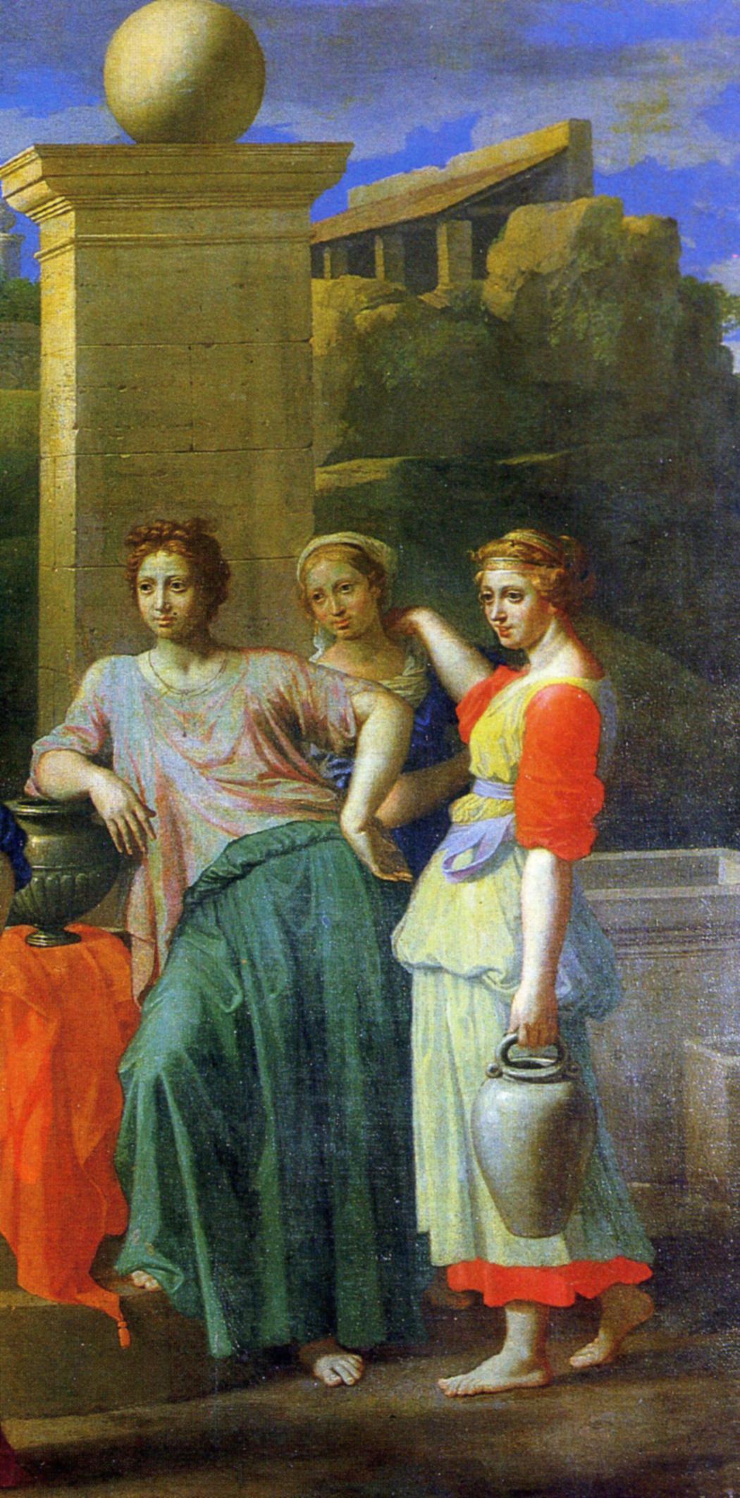 Никола Пуссен. Элиезер и Ревекка у колодца. 1648, фрагмент 1