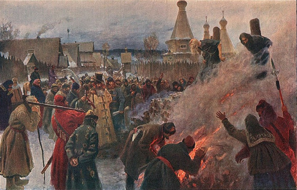 Пётр Мясоедов. Сожжение протопопа Аввакума 1682 (1897 — дата написания картины)