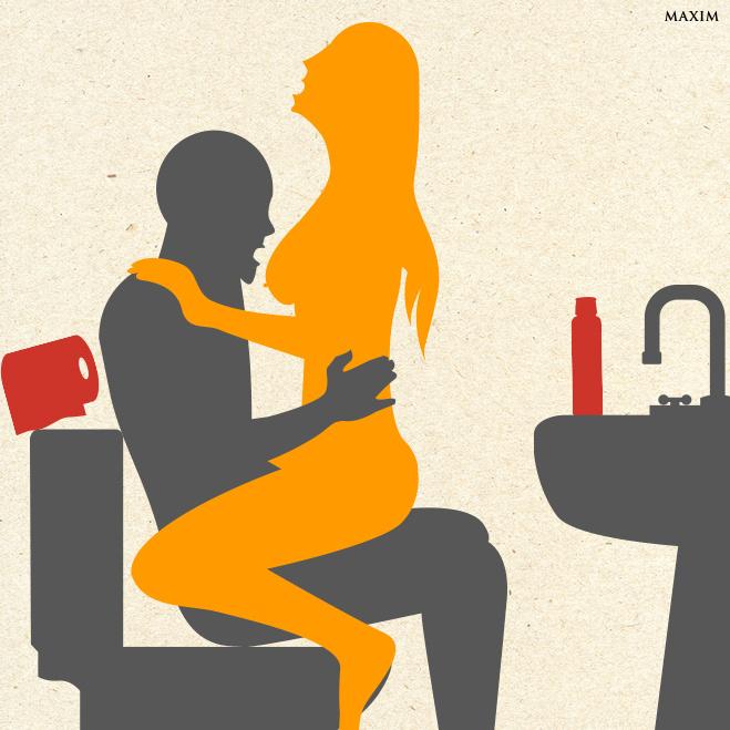 Позы для занятия сексом в туалете