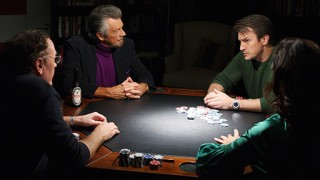 Castle playing poker with bestselling crime novelists