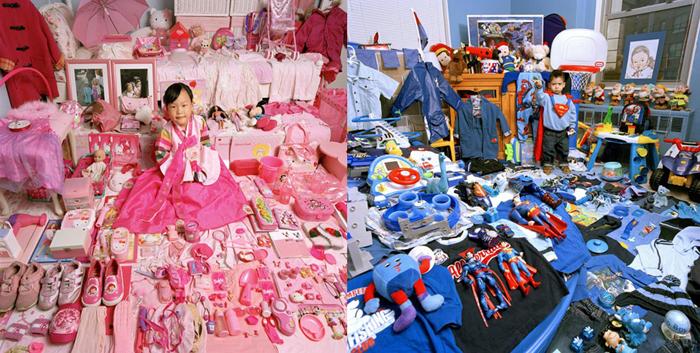 Украшаем детские комнаты.  Мальчикам синие, девочкам розовые.