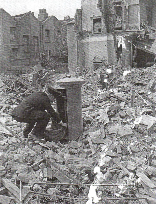 A British Postman on his rounds, London Blitz 1940
