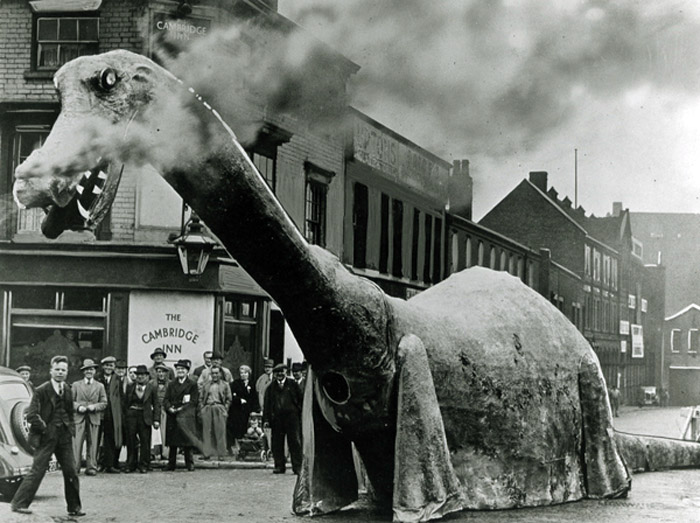 One of three large dinosaur costumes built in Birmingham, England back in 1938