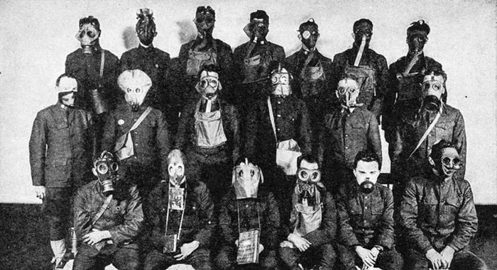 Various gas masks employed on the Western Front and Eastern Front during World War I