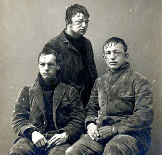 Three Princeton students pose after a snowball fight. 1893.