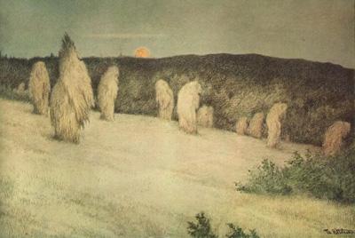 Снопы пшеницы в лунном свете