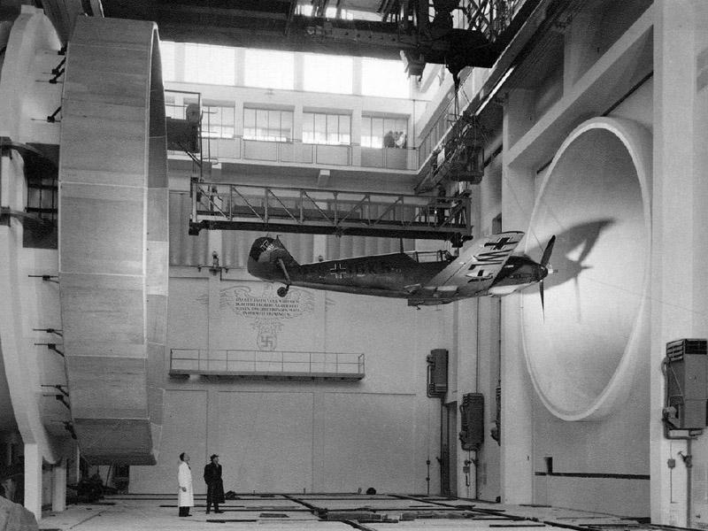 A Messerschmitt Bf 109 in a wind tunnel, 1940