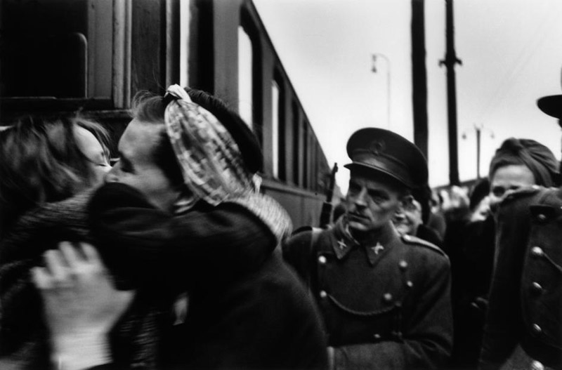 Werner Bischof. Hungary. Budapest. Arrival of a train transporting children from Switzerland. 1947.