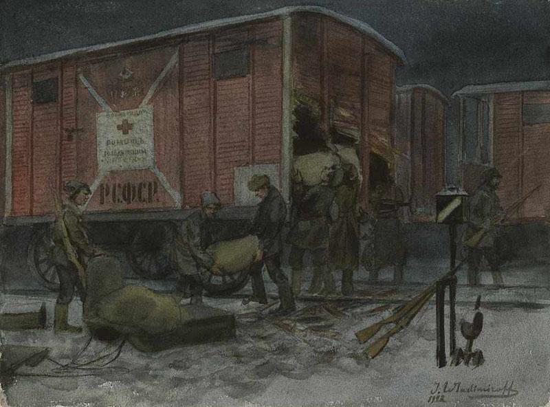 Ночное разграбление вагона с помощью от Красного креста