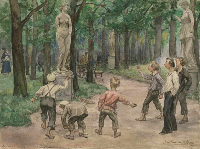 Развлечения подростков в императорском саду Петрограда