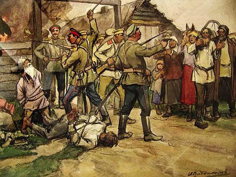 Расстрел крестьян белоказаками