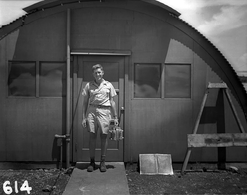 Harold Agnew carrying the plutonium core of the Nagasaki Fat Man bomb, 1945