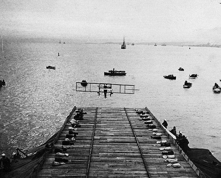 On Jan. 18, 1911, in San Francisco Bay, an airplane landed on a ship for the first time