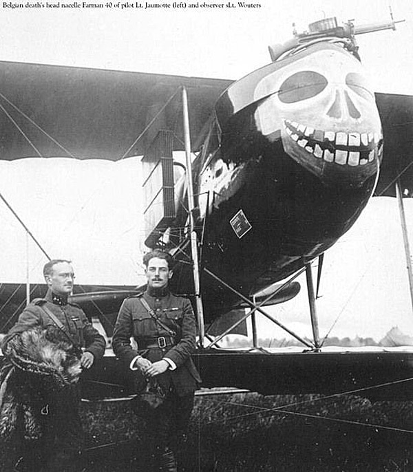 "Belgian ""Death's Head"" Nacelle Farman 40 piloted by Lt Jaumotte with observer Lt Wouters 1915-17"