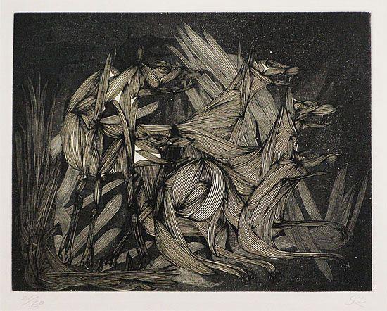 5 matazo kayama black wolves 1964 etching