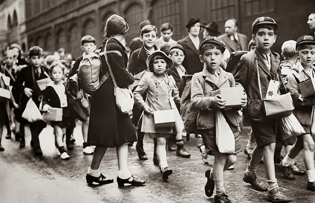 06 Child evacuees on their way to the station, September 1939