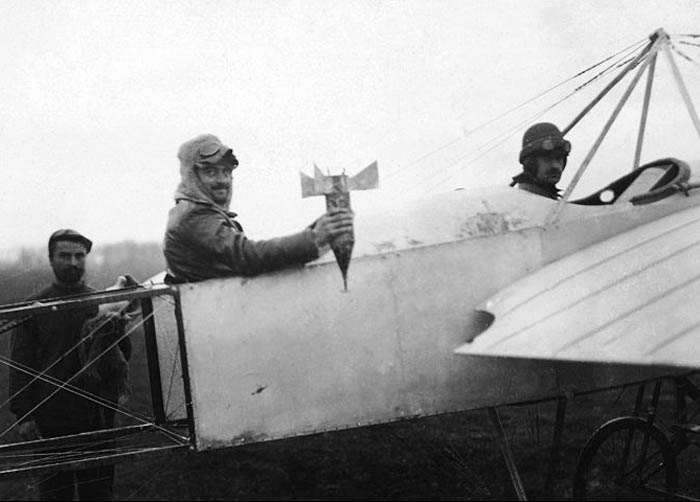Bulgarian airmen prepare for a mission to drop a bomb by hand on Adrianople.1913