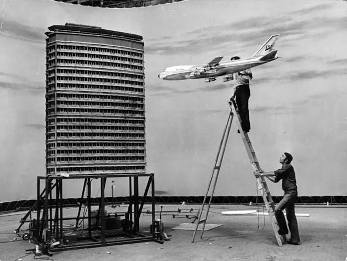 Making of airplane crash scene for the movie 'The Medusa Touch; 1978