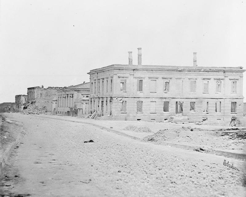 Damaged buildings in a Sevastopol street, September 1855.