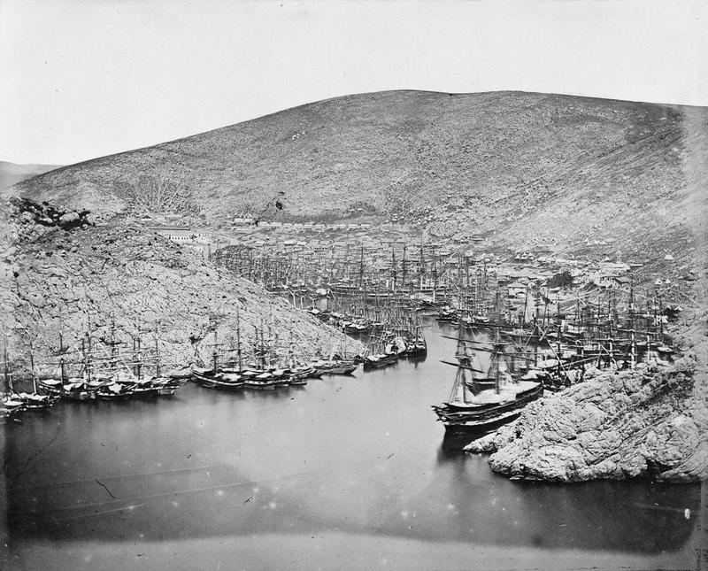 Crowded shipping in the entrance to Balaklava Harbour, March-April 1855.