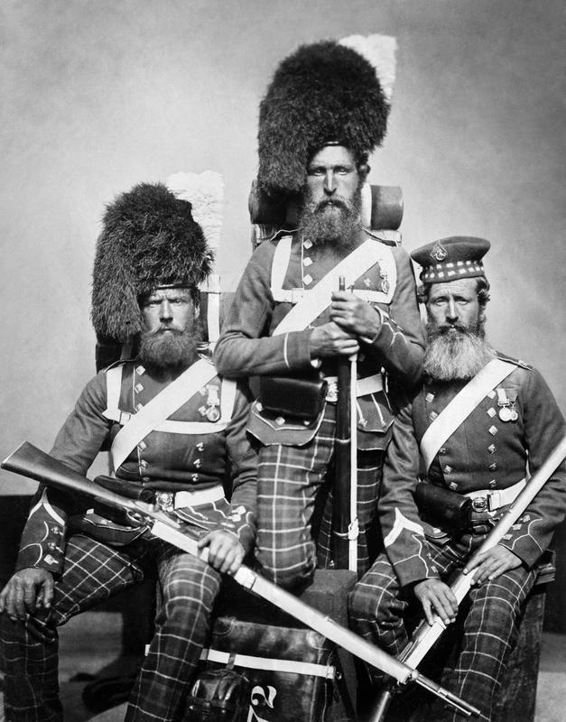Men of 72 Highlanders who served in the Crimea. William Noble, Alexander Davison and John Harper