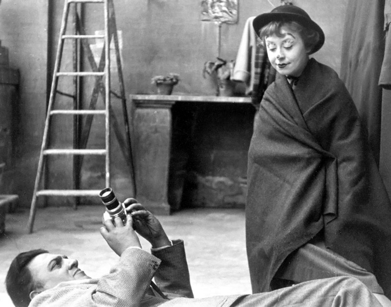 Fellini and Masina on the set of La Strada, 1954. Photo Studio Patellani