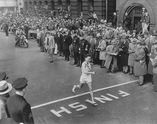 Survivor of the Hiroshima atomic bomb, Shigeki Tanaka won the Boston Marathon in 1951