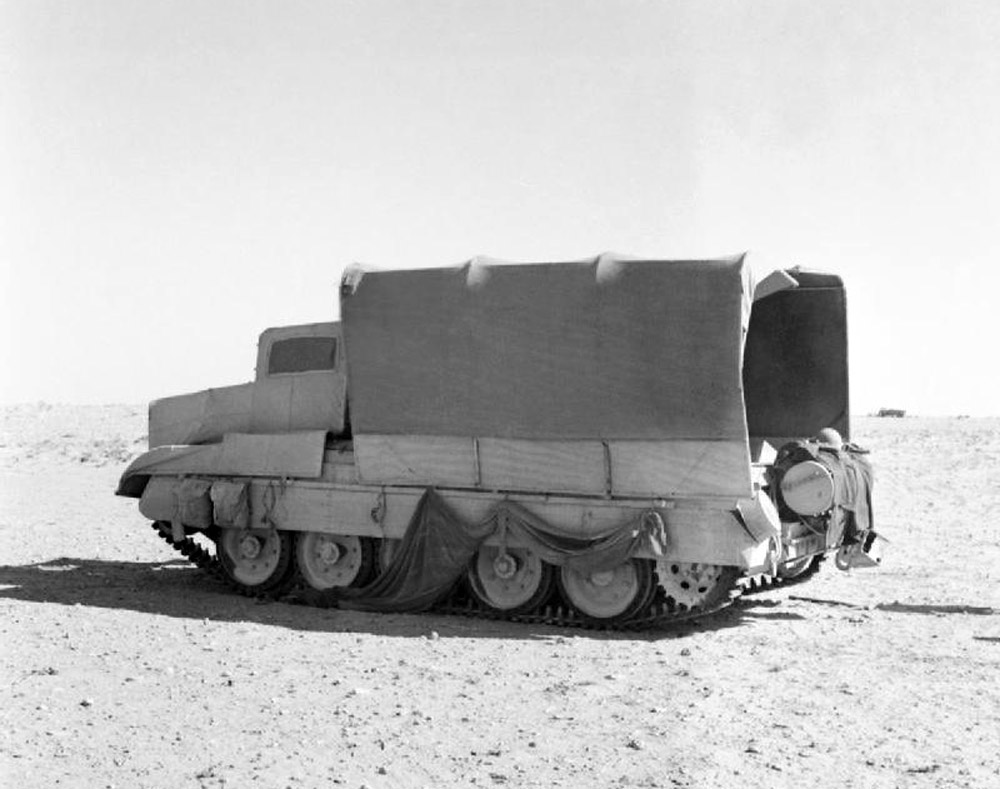 British Crusader tank camouflaged as a truck, North Africa 1942