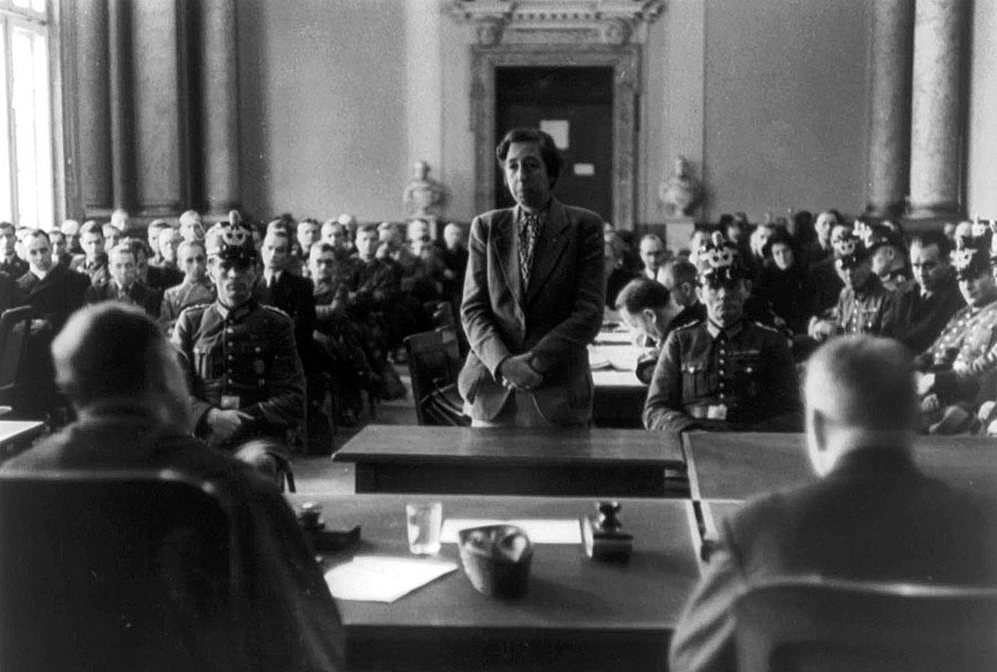Elisabeth «Lilo» Gloeden stands before judges, on trial for being involved in the attempt on Adolf Hitler's life, 1944