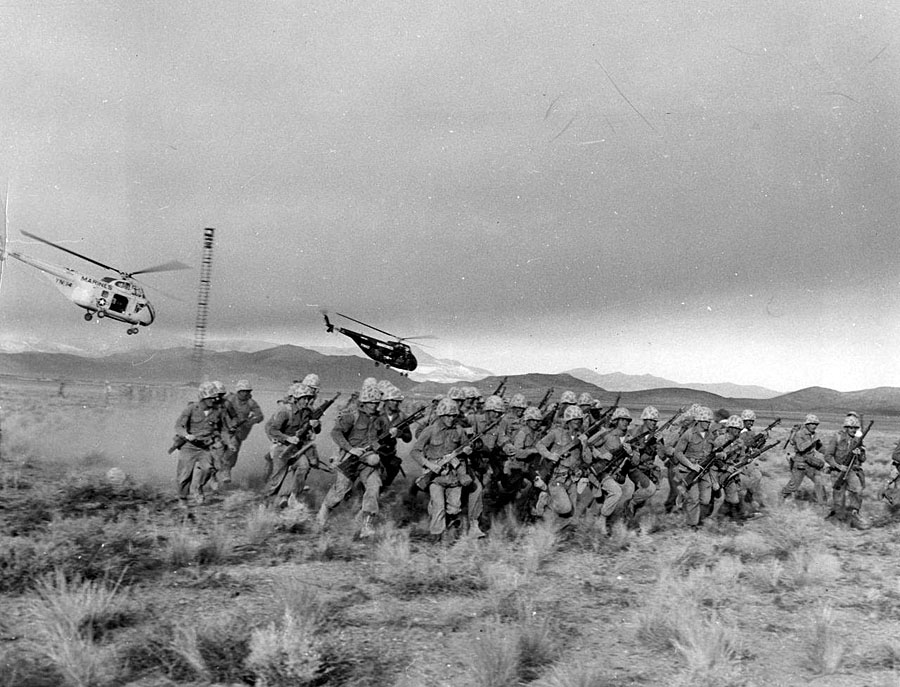 Marines of the 4th Provisional Atomic Exercise Brigade during a training exercise following the detonation of an atomic bomb 5,700 yards from them, Nevada, 1957.