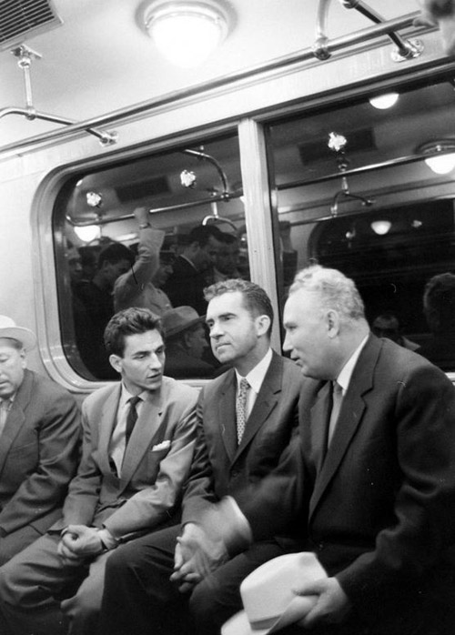Richard Nixon in the subway. USSR, Moscow. June 1959.